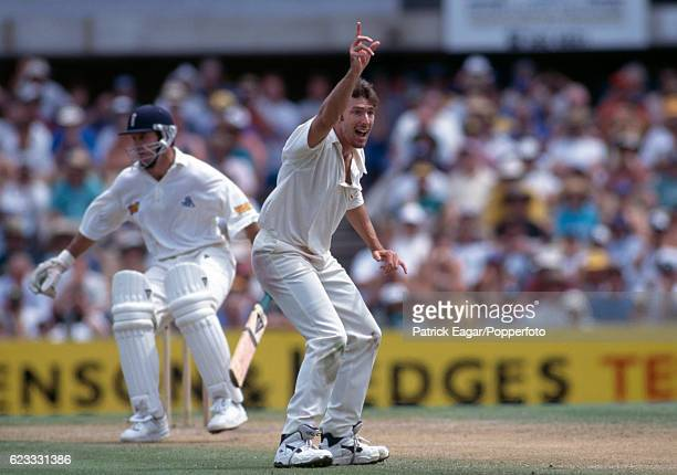 Damien Fleming of Australia appeals for the wicket of England's Graeme Hick during the 3rd Test match between Australia and England at the SCG Sydney...