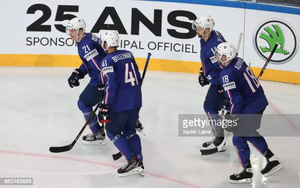 Damien Fleury of France celebrate his goal during with Stephane Da Costa PierreEdouard Bellemare Antoine Roussel and Yohann Auvitu during the 2017...
