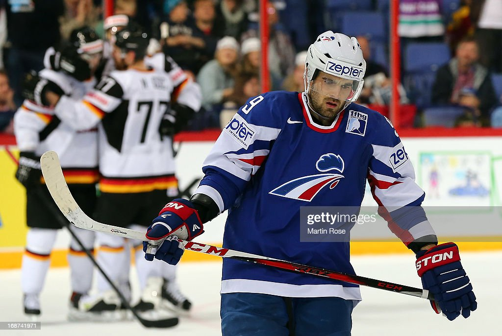 Damien Fleury of France looks dejected after the IIHF World Championship group H match between France and Germany at Hartwall Areena on May 14, 2013 in Helsinki, Finland.