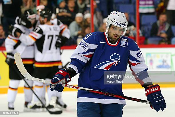 Damien Fleury of France looks dejected after the IIHF World Championship group H match between France and Germany at Hartwall Areena on May 14 2013...