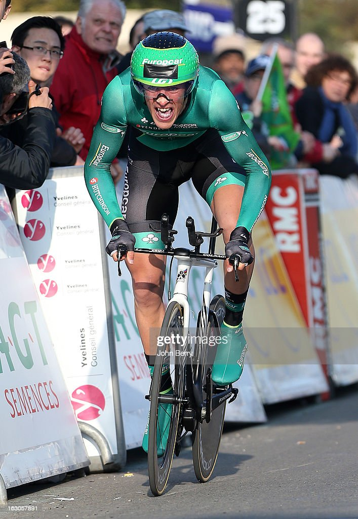 Damien Gaudin of France and Team Europcar wins the stage and gets the first yellow jersey of the race after the prologue of 2.9 km of the 2013 Paris-Nice on March 3, 2013 in Houilles, Yvelines, France.