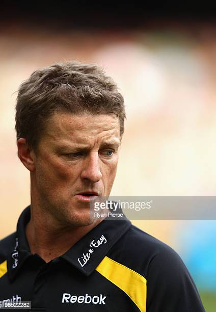 Damien Hardwick coach of the Tigers looks on during the round four AFL match between the Richmond Tigers and the Melbourne Demons at the Melbourne...