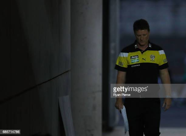 Damien Hardwick coach of the Tigers looks on during the round nine AFL match between the Greater Western Sydney Giants and the Richmond Tigers at...