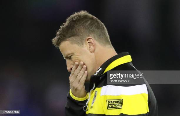 Damien Hardwick coach of the Tigers looks on during the round seven AFL match between the Western Bulldogs and the Richmond Tigers at Etihad Stadium...