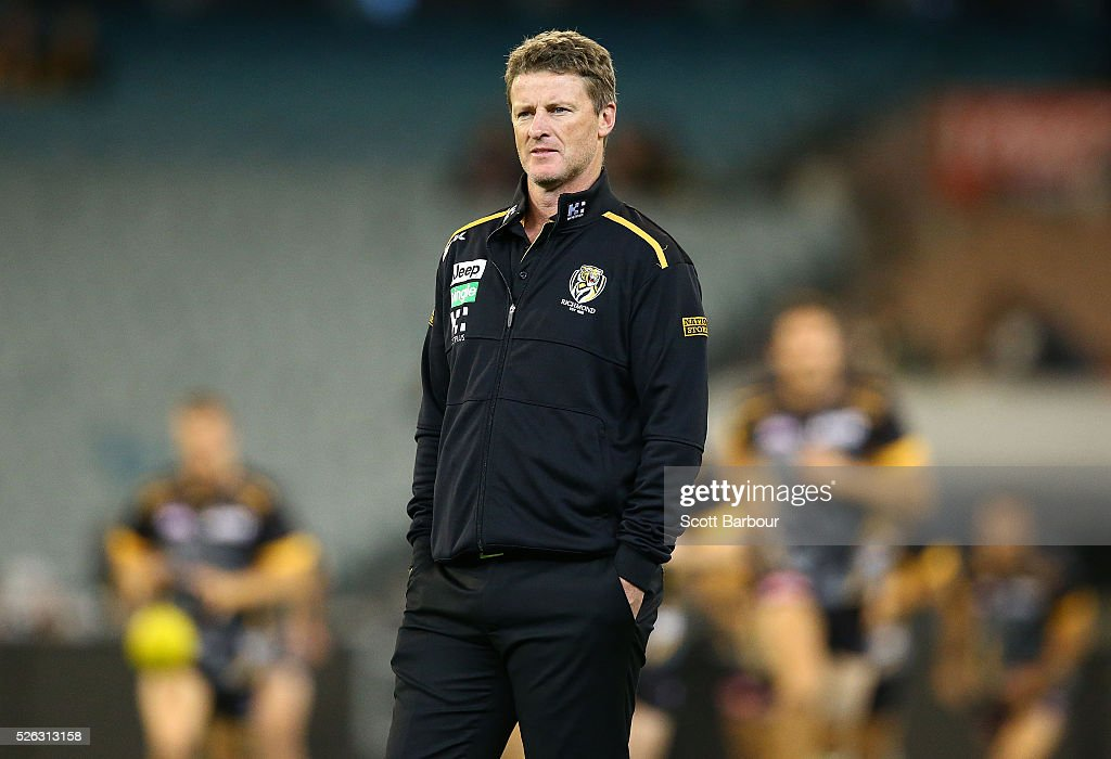 <a gi-track='captionPersonalityLinkClicked' href=/galleries/search?phrase=Damien+Hardwick&family=editorial&specificpeople=162730 ng-click='$event.stopPropagation()'>Damien Hardwick</a>, coach of the Tigers looks on during the round six AFL match between the Richmond Tigers and the Port Adelaide Power at Melbourne Cricket Ground on April 30, 2016 in Melbourne, Australia.