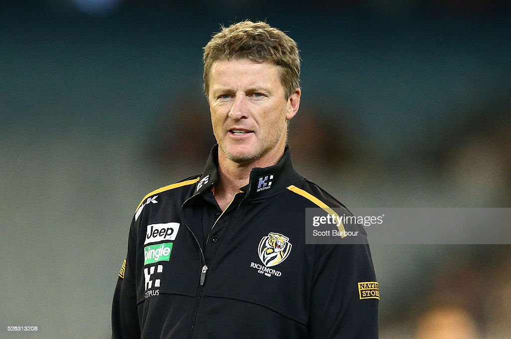 Damien Hardwick, coach of the Tigers looks on during the round six AFL match between the Richmond Tigers and the Port Adelaide Power at Melbourne Cricket Ground on April 30, 2016 in Melbourne, Australia.
