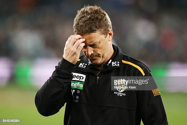 Damien Hardwick of the Tigers looks on during the round 15 AFL match between the Port Adelaide Power and the Richmond Tigers at Adelaide Oval on July...