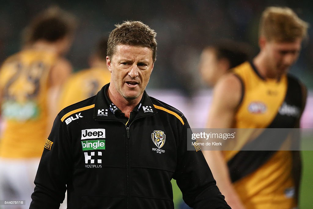 <a gi-track='captionPersonalityLinkClicked' href=/galleries/search?phrase=Damien+Hardwick&family=editorial&specificpeople=162730 ng-click='$event.stopPropagation()'>Damien Hardwick</a> of the Tigers looks on during the round 15 AFL match between the Port Adelaide Power and the Richmond Tigers at Adelaide Oval on July 1, 2016 in Adelaide, Australia.