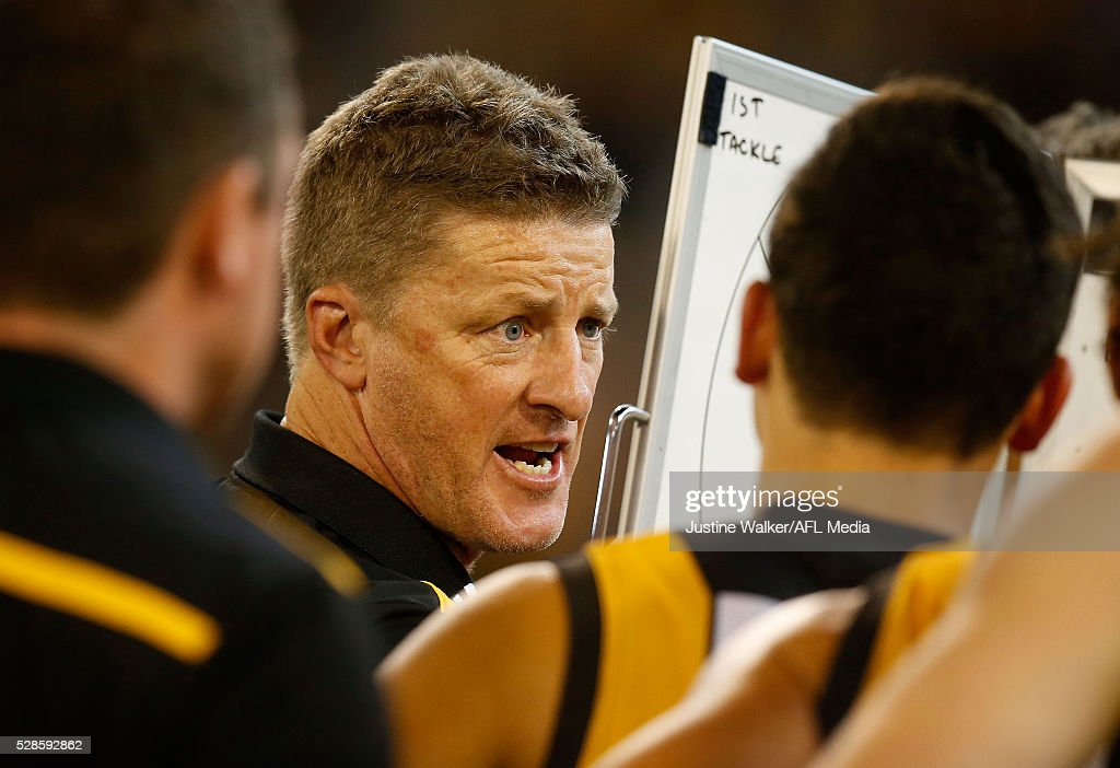 <a gi-track='captionPersonalityLinkClicked' href=/galleries/search?phrase=Damien+Hardwick&family=editorial&specificpeople=162730 ng-click='$event.stopPropagation()'>Damien Hardwick</a>, Senior Coach of the Tigers addresses the players during the 2016 AFL Round 07 match between the Richmond Tigers and the Hawthorn Hawks at the Melbourne Cricket Ground, Melbourne on May 6, 2016.