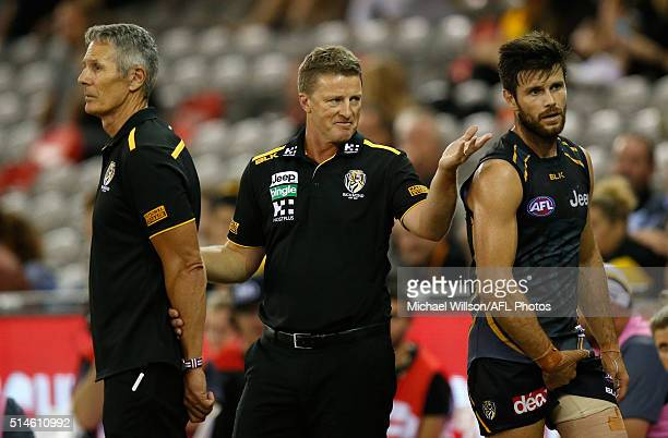 Damien Hardwick Senior Coach of the Tigers and Trent Cotchin of the Tigers look on during the 2016 NAB Challenge match between the Richmond Tigers...