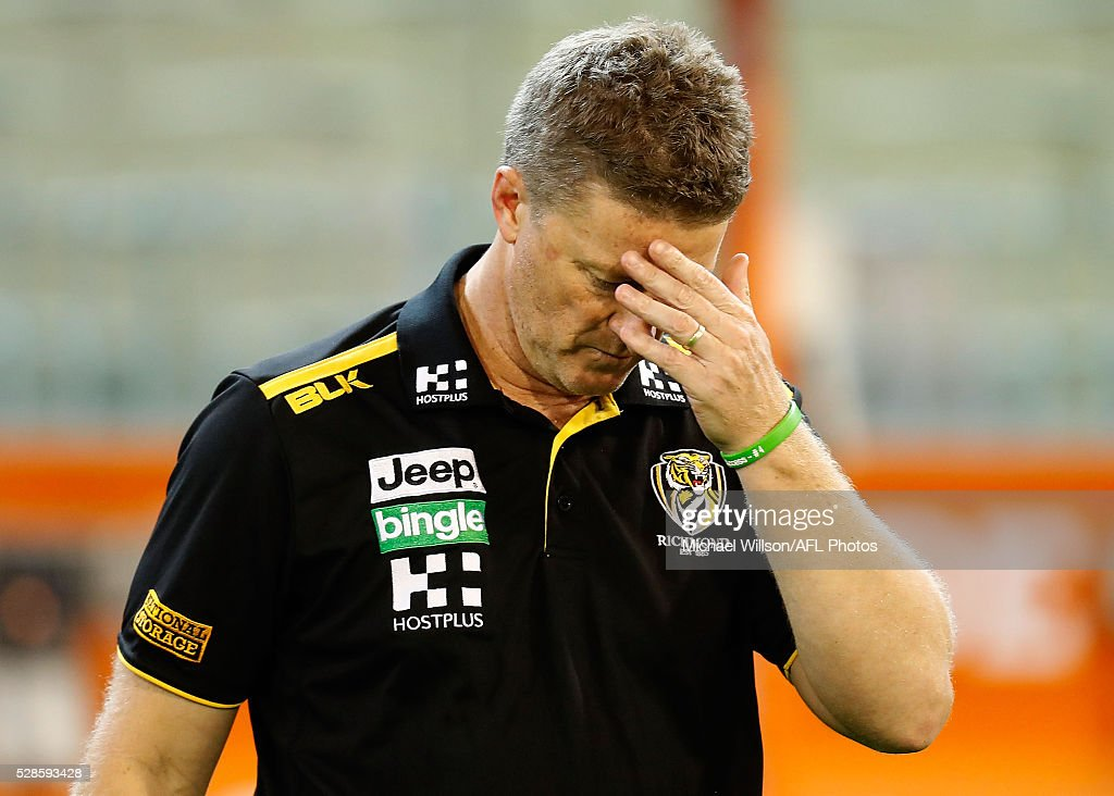 <a gi-track='captionPersonalityLinkClicked' href=/galleries/search?phrase=Damien+Hardwick&family=editorial&specificpeople=162730 ng-click='$event.stopPropagation()'>Damien Hardwick</a>, Senior Coach of the Tigers looks on during the 2016 AFL Round 07 match between the Richmond Tigers and the Hawthorn Hawks at the Melbourne Cricket Ground, Melbourne on May 6, 2016.