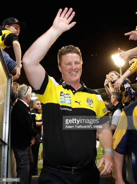 Damien Hardwick Senior Coach of the Tigers thanks fans during the 2017 AFL Second Preliminary Final match between the Richmond Tigers and the GWS...