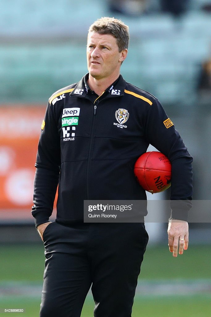 <a gi-track='captionPersonalityLinkClicked' href=/galleries/search?phrase=Damien+Hardwick&family=editorial&specificpeople=162730 ng-click='$event.stopPropagation()'>Damien Hardwick</a> the coach of the Tigers looks on during the round 14 AFL match between the Richmond Tigers and the Brisbane Lions at Melbourne Cricket Ground on June 25, 2016 in Melbourne, Australia.