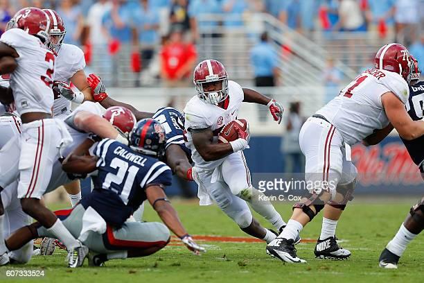 Damien Harris of the Alabama Crimson Tide rushes against the Mississippi Rebels at VaughtHemingway Stadium on September 17 2016 in Oxford Mississippi