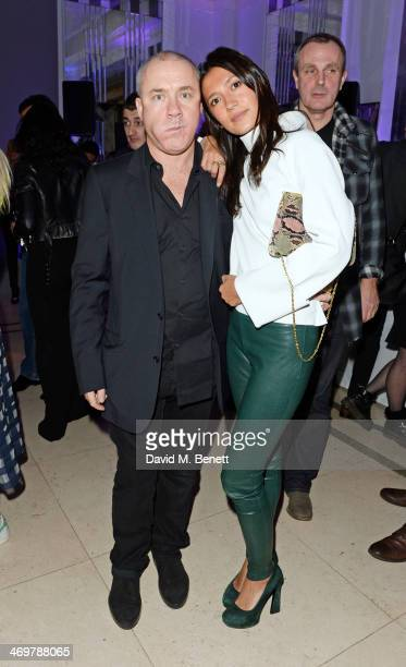 Damien Hirst and Hikari Yokoyama attend the Mulberry dinner to celebrate the launch of the Cara Delevingne Collection at Claridge's Hotel on February...