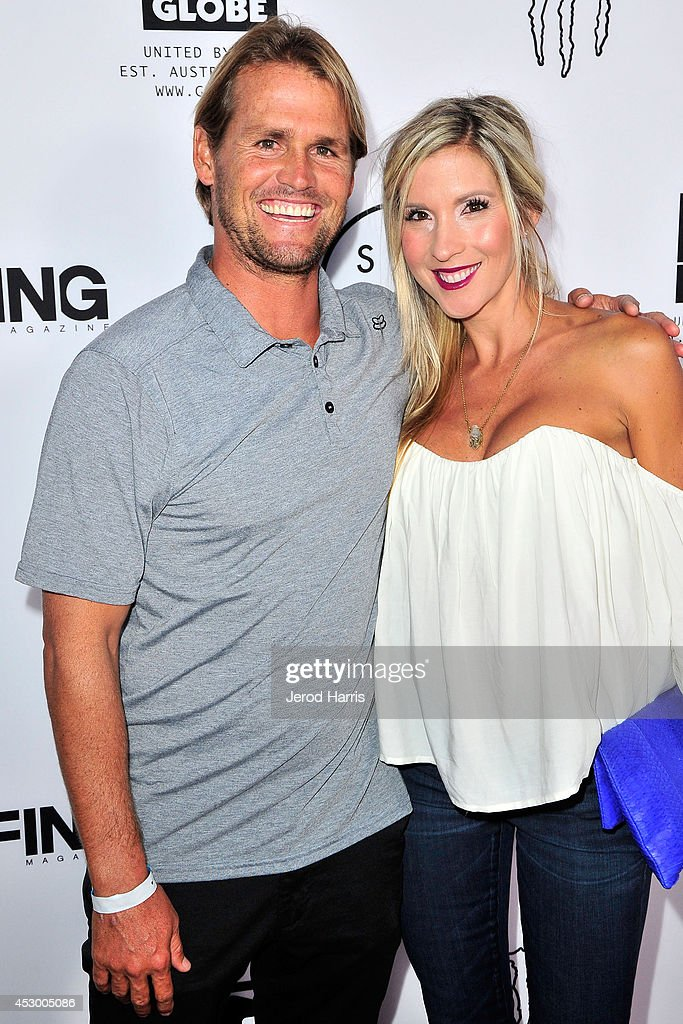 Damien Hobgood and Charlotte Hobgood attend 'Strange Rumblings In ShangriLa' world premiere at Pacific Air Center on July 31 2014 in Long Beach...