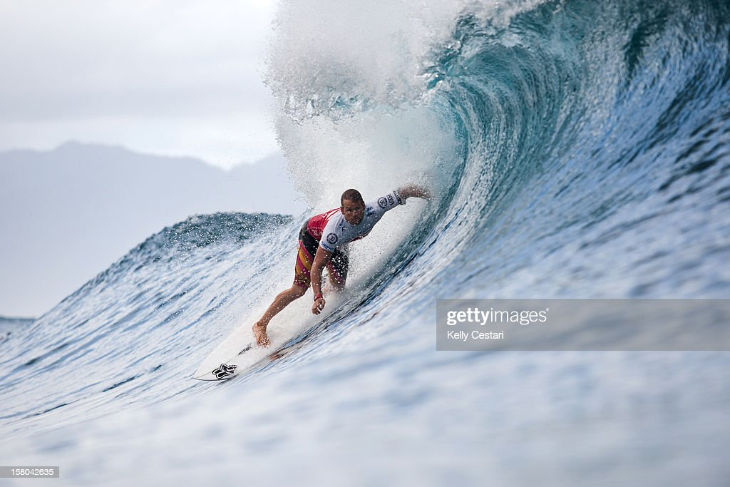 Damien Hobgood of the United States advanced into Round 5 of the Billabong Pipe Masters in Memory of Andy Irons at Pipeline on December 9, 2012 in North Shore, United States.