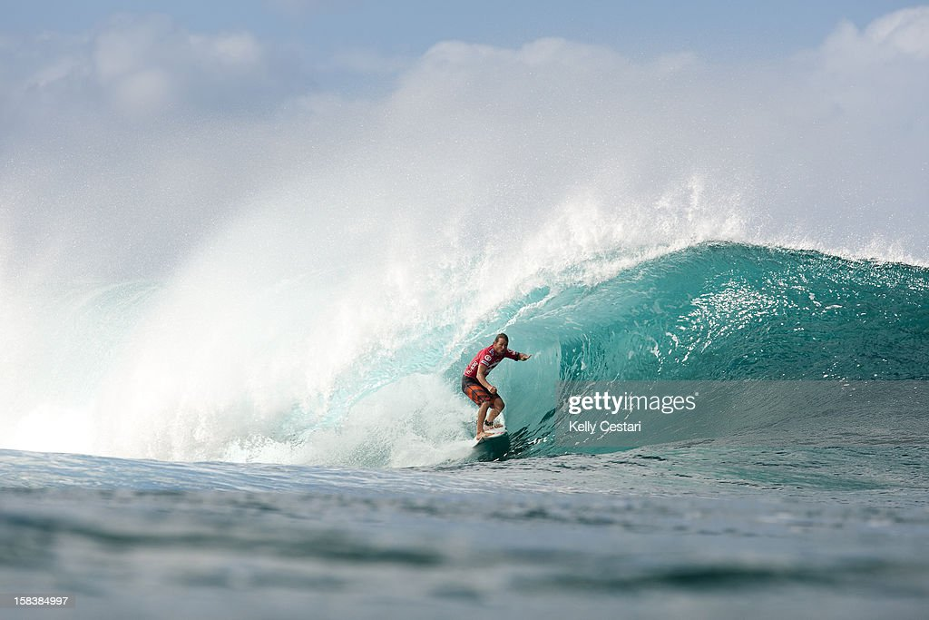 Damien Hobgood of the United States placed equal 3rd in the Billabong Pipe Masters in Memory of Andy Irons at Pipeline on December 14, 2012 in North Shore, United States.