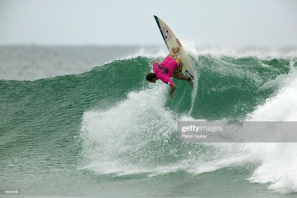 Damien Hobgood of the USA in action in round two of the Quiksilver Pro at Snapper Rocks Gold Coast Australia on March 6 2003 The Quiksilver Pro...