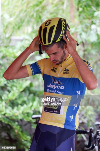Damien Howson of Orica Scott and yellow jersey wearer gets ready before stage 4 at Kinglake as part of the 2017 Jayco Herald Sun Tour on February 05...