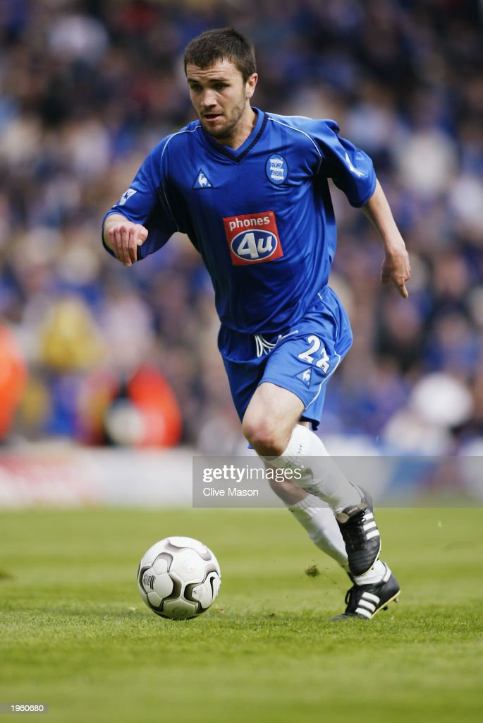 Damien Johnson of Birmingham City runs with the ball during the FA Barclaycard Premiership match between Birmingham City and Middlesbrough held on April 26, 2003 at St Andrews, in Birmingham, England. Birmingham City won the match 3-0.