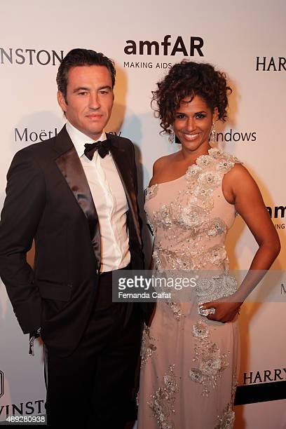 Damien Loras and Alexandra Loras attend the 5th Annual amfAR Inspiration Gala at the home of Dinho Diniz on April 10 2015 in Sao Paulo Brazil