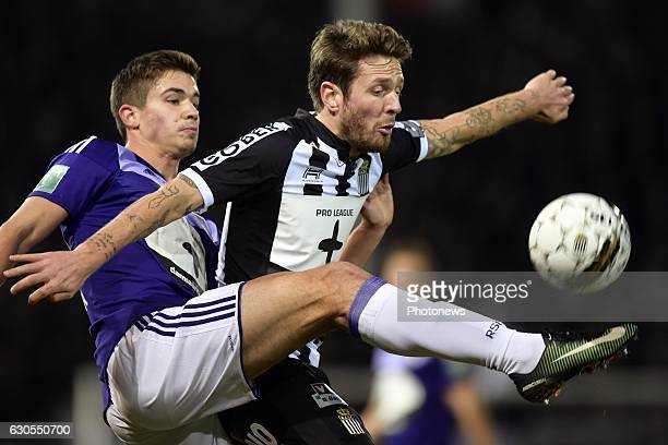 Damien Marcq midfielder of Sporting Charleroi battles for the ball with Leander Dendoncker midfielder of RSC Anderlecht during the Jupiler Pro League...