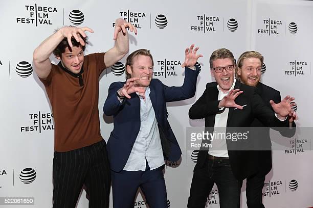 Damien Molony Brian Gleeson Simon Dixon and Gareth Coulam Evans attend the premiere of 'Tiger Raid' Premiere during the 2016 Tribeca Film Festival at...