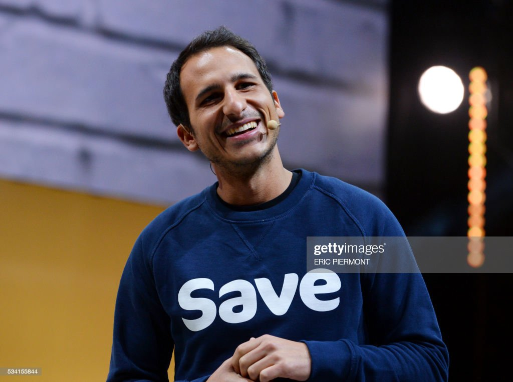 Damien Morin, founder and CEO of Save addresses France's Public Investment Bank Banque Publique d'Investissement (BPI Bpifrance) event 'Bpifrance Inno Generation' at the AccorHotels Arena in Paris on May 25, 2016. / AFP / ERIC