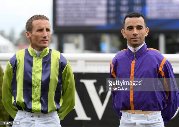 Damien Oliver and Joao Moreira are seen at the pre ceremony during Melbourne Racing on Caulfield Cup Day at Caulfield on October 21 2017 in Melbourne...