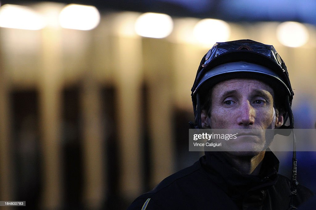 <a gi-track='captionPersonalityLinkClicked' href=/galleries/search?phrase=Damien+Oliver&family=editorial&specificpeople=210504 ng-click='$event.stopPropagation()'>Damien Oliver</a> before riding Fiorente in a trackwork session at Moonee Valley Racecourse on October 17, 2013 in Melbourne, Australia.
