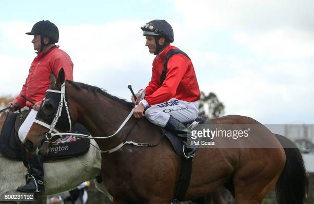 Damien Oliver returns to the mounting yard on Encosta Line after winning Grampians Region Handicapat Flemington Racecourse on June 24 2017 in...