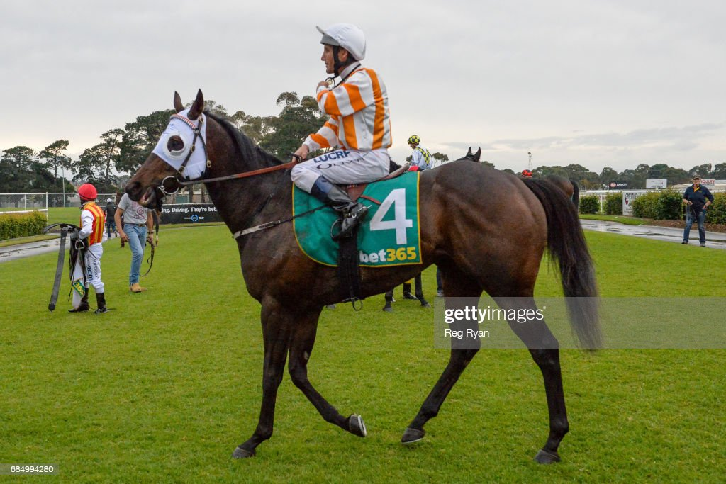 Damien Oliver returns to the mounting yard on Zamboanga after winning the Rip Curl BM58 Handicap, at Geelong Racecourse on May 19, 2017 in Geelong, Australia.