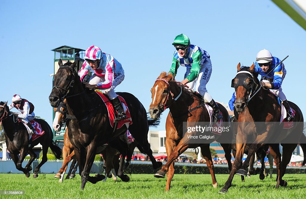 <a gi-track='captionPersonalityLinkClicked' href=/galleries/search?phrase=Damien+Oliver&family=editorial&specificpeople=210504 ng-click='$event.stopPropagation()'>Damien Oliver</a> riding Azkadellia wins Race 9, the Mannerism Stakes during Melbourne Racing at Caulfield Racecourse on February 27, 2016 in Melbourne, Australia.