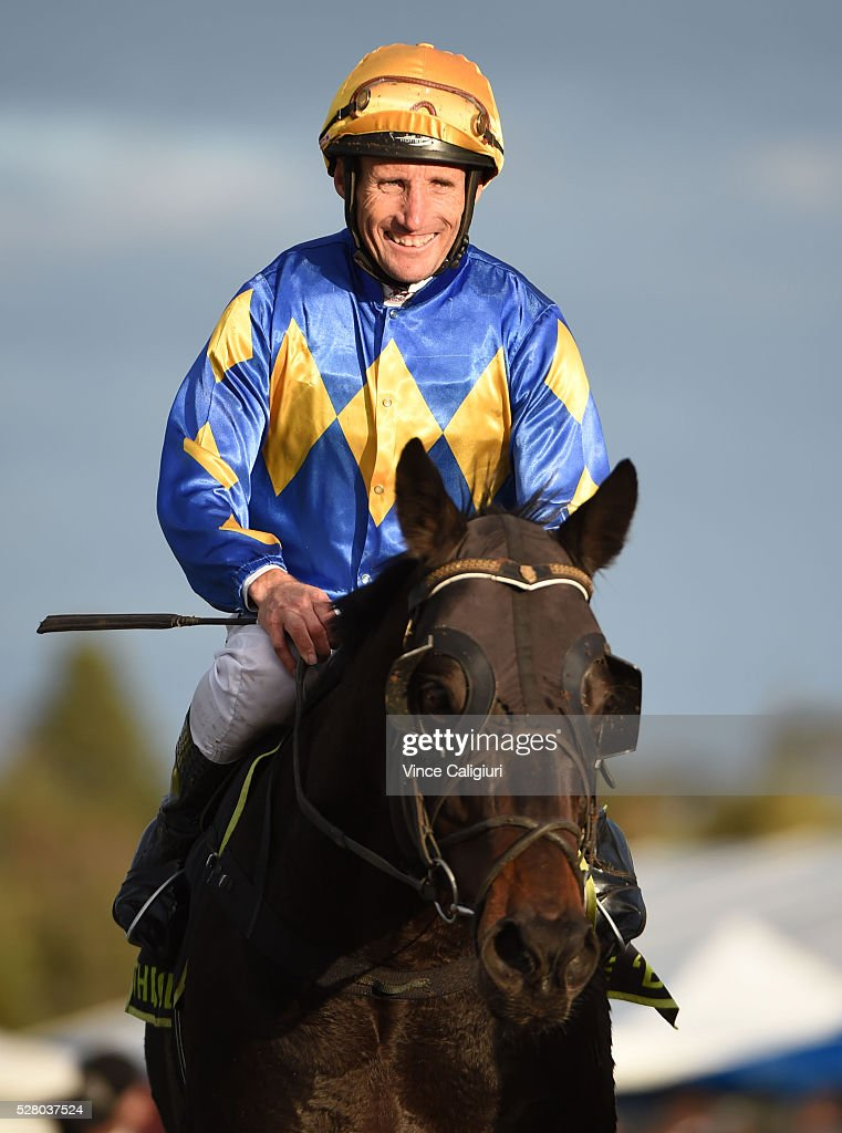 Damien Oliver riding Edgwood after winning Race 10 during Brierly Day at Warrnambool Race Club on May 4, 2016 in Warrnambool, Australia.