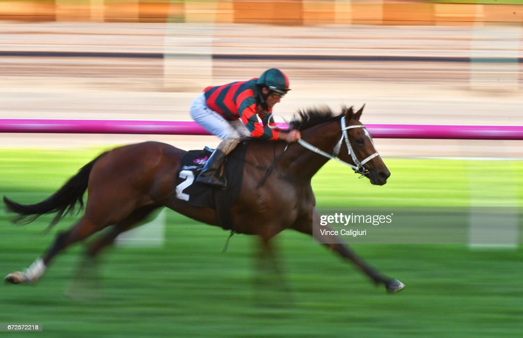 Damien Oliver riding Egg Tart wins Race 7 during Melbourne Racing at Flemington Racecourse on April 25, 2017 in Melbourne, Australia.