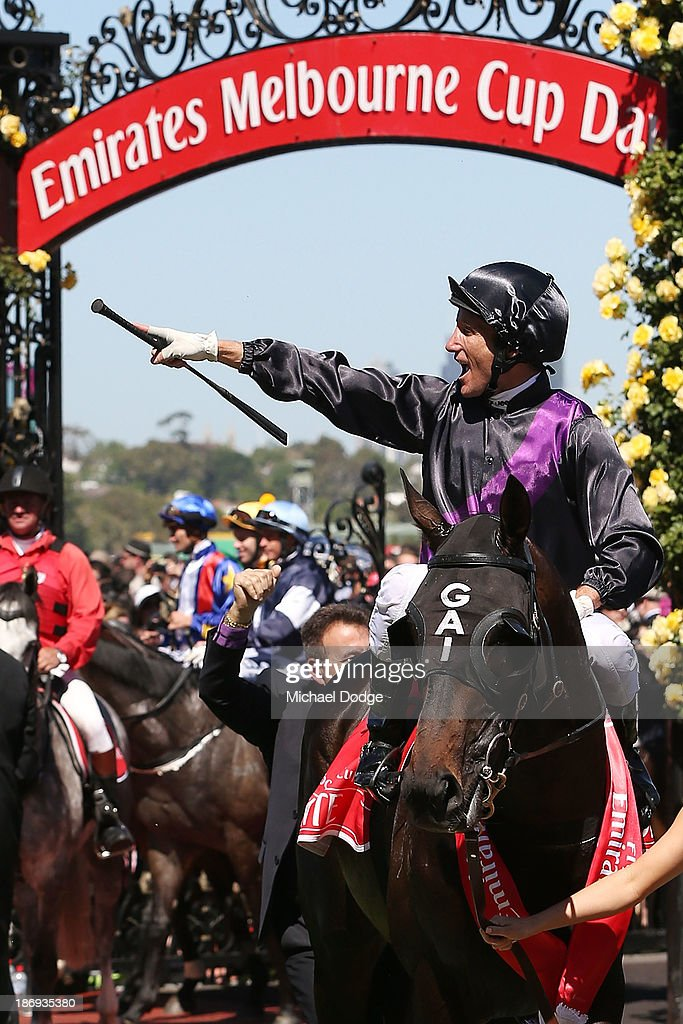 Damien Oliver riding Fiorente celebrates winning race 7 The Emirates Melbourne Cup during Melbourne Cup Day at Flemington Racecourse on November 5, 2013 in Melbourne, Australia.