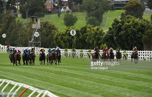 Damien Oliver riding Kentucky Miss winning Race 2 Cap D'Antibes Stakes during Melbourne Racing at Flemington Racecourse on September 10 2016 in...