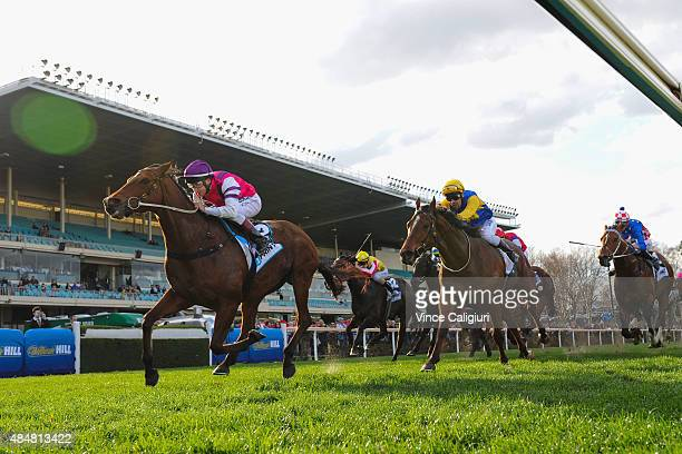Damien Oliver riding Le Bonsir wins Race 7 the IPrint Carlyon Stakes during Melbourne racing at Moonee Valley racecourse on August 22 2015 in...