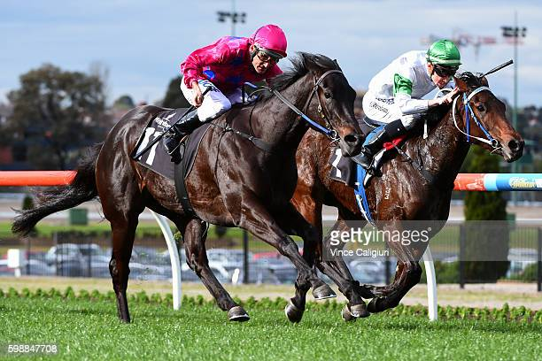 Damien Oliver riding Merriest defeats Chris Parnham riding Whispering Brook in Race 6 Atlanta Jewel Stakes during Melbourne racing at Moonee Valley...