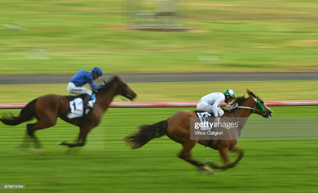 Damien Oliver riding Payroll wins Race 9, Eclipse Stakes during Melbourne Racing at Sandown Hillside on November 18, 2017 in Melbourne, Australia.