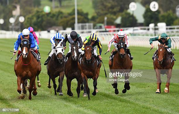 Damien Oliver riding Saracino defeats Craig Williams riding Archives in Race 5 The Danehill Stakes during Melbourne Racing at Flemington Racecourse...