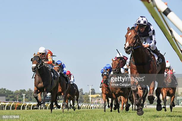 Damien Oliver riding Second Bullet wins Race 8 Piping Lane Handicap during Melbourne Racing at Flemington Racecourse on January 16 2016 in Melbourne...