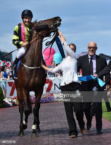 Damien Oliver riding Suavito after winning Race 5 the Italktravel Futurity Stakes during Blue Diamond Day at Caulfield Racecourse on February 28 2015...