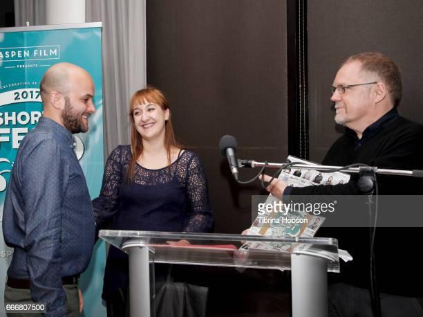 Damien Ounouri Lee Filipovski and John Anderson attend the 2017 Aspen Shortsfest Awards Dinner on April 9 2017 at Aspen Kitchen in Aspen Colorado