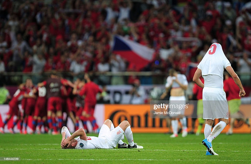 Damien Perquis of Poland lies on the pitch at the final whistle during the UEFA EURO 2012 group A match between Czech Republic and Poland at The Municipal Stadium on June 16, 2012 in Wroclaw, Poland.
