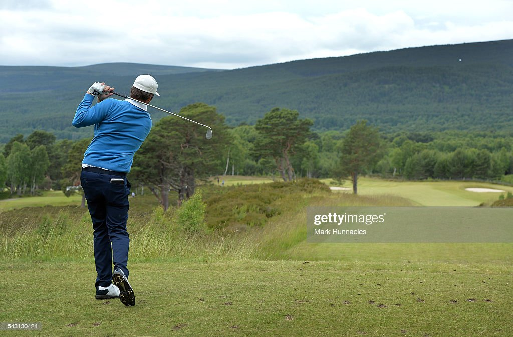 Damien Perrier of France Tee shot to the 9th during the final day of the 2016 SSE Scottish Hydro Challenge at the MacDonald Spey Valley Golf Course on June 26, 2016 in Aviemore, Scotland.