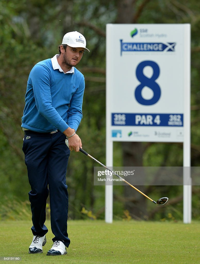 Damien Perrier of France watches his drive at the 8th Tee during the final day of the 2016 SSE Scottish Hydro Challenge at the MacDonald Spey Valley Golf Course on June 26, 2016 in Aviemore, Scotland.