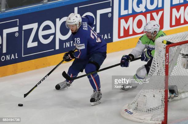 Damien Raux of France during the 2017 IIHF Ice Hockey World Championship game between France and Slovenia at AccorHotels Arena on May 15 2017 in...