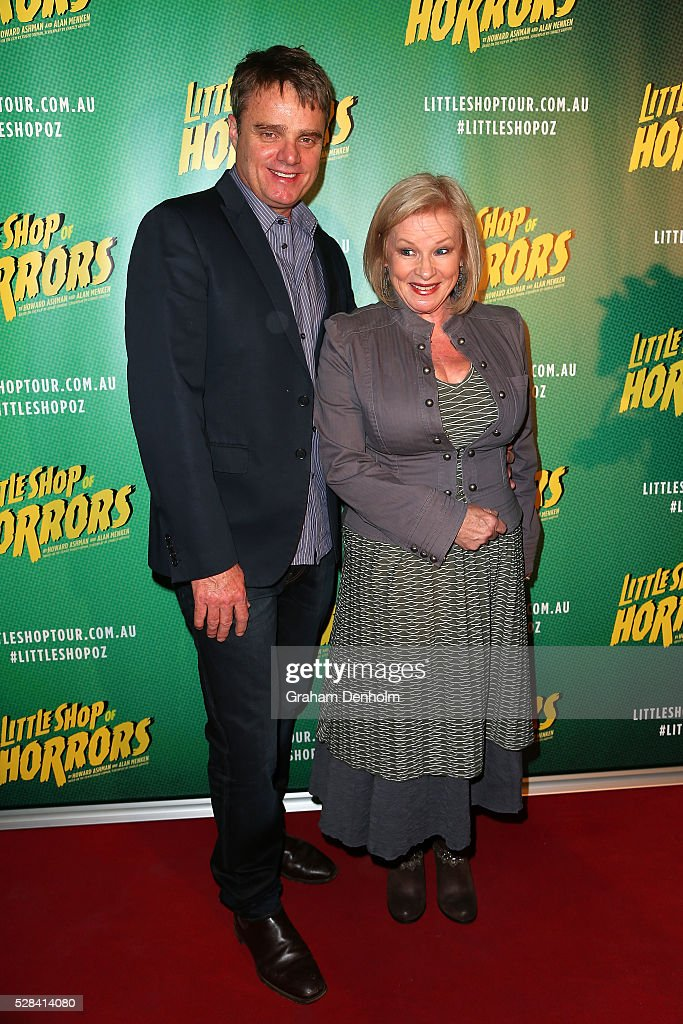 Damien Richardson and Colette Mann arrive ahead of the opening night for the Little Shop of Horrors at the Comedy Theatre on May 5, 2016 in Melbourne, Australia.